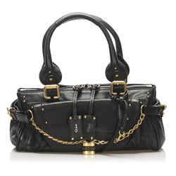 Vintage Authentic Chloe Black Paddington Capsule Leather Shoulder Bag France