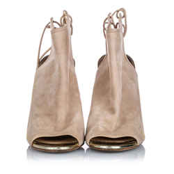 Vintage Authentic Jimmy Choo Brown Beige Suede Leather Open Toe Ankle Boot Italy