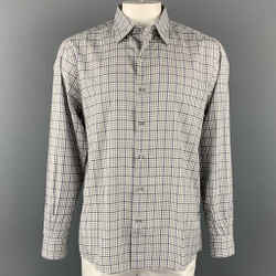 ERMENEGILDO ZEGNA Size XL White & Green Plaid Cotton Long Sleeve Shirt