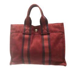 Vintage Authentic Hermes Red Canvas Fabric Fourre Tout PM France
