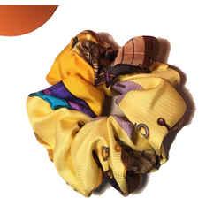 Hermes Vintage Handmade Ecuries Silk Scarf Scrunchie in Yellow