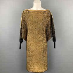 JEAN PAUL GAULTIER Size XS Gold & Black Metallic Wool Blend Shift Dress
