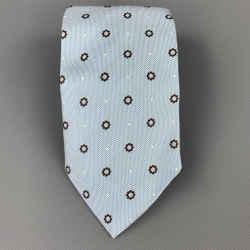 ERMENEGILDO ZEGNA Light Blue & Brown Jacquard Silk Tie
