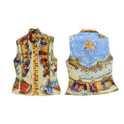 Authentic Hermes 100% Silk Vest S38 Prieres Aux Vent Rybaltchenko Soft Clothing