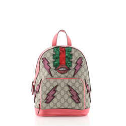 Zip Pocket Backpack Embellished GG Coated Canvas Small