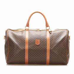 Vintage Authentic Celine Brown PVC Plastic Macadam Travel Bag FRANCE