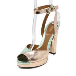 Fendi Metallic Green Pink Patent Leather Sandals sz 37