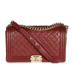 Chanel Burgundy Quilted Lambskin Leather New Medium Boy Bag