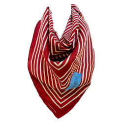YVES SAINT LAURENT Burgundy Striped Silk Scarf