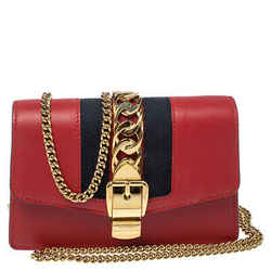 Gucci Red Leather Super Mini Sylvie Crossbody Bag