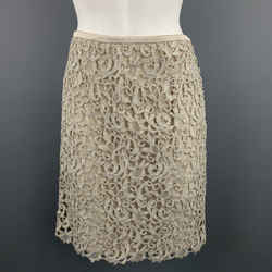 Escada Size 8 Taupe Wool Blend Lace A Line Skirt
