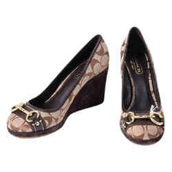 Coach Issy Round Toe Heel Pumps Wedges Brown Size 8 Authenticity Guaranteed