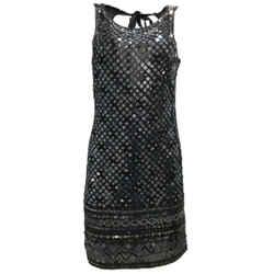 Roberto Cavalli Black Beaded and Sequined Sleeveless Silk Mini Formal Dress