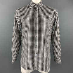 Paul Smith Size L Black & White Checkered Cotton French Cuff Long Sleeve Shirt