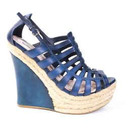 Miu Miu - Open Toe Espadrille Sandals  Blue Leather Eyelet Wedge Heel Us 10 - 40