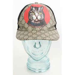 Gucci GG Supreme Monogram Mystic Cat Print Baseball Hat