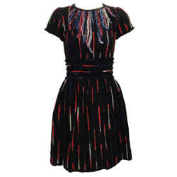 Chanel Black / Red / White Tweed with Fringe Trim Casual Dress