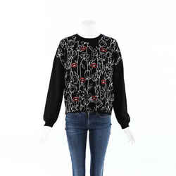 Valentino Embroidered Lips Flower Cashmere Sweater SZ L