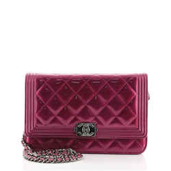 Boy Wallet on Chain Quilted Patent