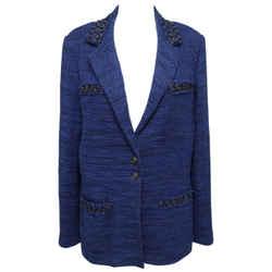 Chanel Jack Blazer Coat Vest Tweed Black Royal Blue Long Sleeve 48 Spring 2009