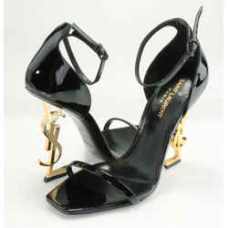 Saint Laurent Opyum Sandals in Patent Leather with Gold-Toned Heels