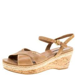 Prada Sport Brown Leather Ankle Strap Platform Espadrille Sandals Size 38