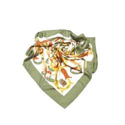 White Hermes Printed Silk Scarf