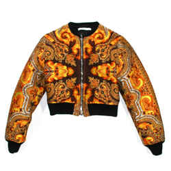 Givenchy - Fire Print Bomber Jacket Cropped Embroidered Yellow Paisley Us 2 - 34