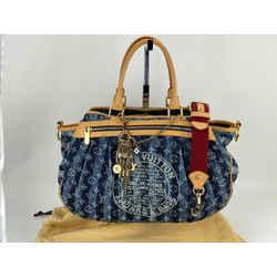 LOUIS VUITTON Monogram Denim Cabas Raye GM Shoulder Travel Bag Blue M95336 A656