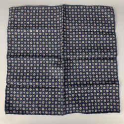 BRUNELLO CUCINELLI Indigo & Taupe Houndstooth Wool Pocket Square