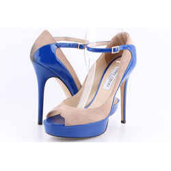 Jimmy Choo Tami Suede Patent Pumps Blue US-8 Authenticity Guaranteed