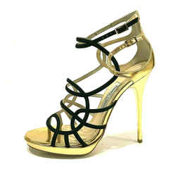 $976 Jimmy Choo Bunting Caged Strappy Sandals Heels Shoes Gold Black Sz 8.5 38.5