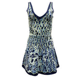 Herve Leger Navy and Lime Abstract Print Flare Cocktail Dress