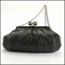 Rdc10753 Authentic Tiffany & Co. Black Pleated Leather Ball Clasp Vivian Bag