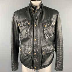 RALPH LAUREN Size 42 Black Leather Zip & Snaps Corduroy Collar Jacket
