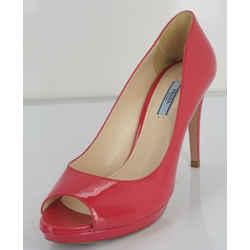 Prada Pink Patent Leather Open Toe Platform High Heel Pumps Size 39 Nib $650
