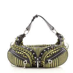 Biker Bag Houndstooth Canvas with Studded Leather Large
