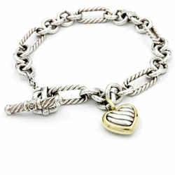 David Yurman 925 Silver 18k Gold Heart Charm Oval Cable Chain Charm Bracelet