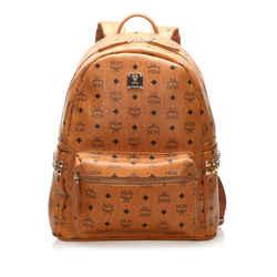 Vintage Authentic MCM Brown Calf Leather Visetos Stark Backpack Germany
