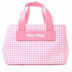Auth Miu Miu Kanapa Gingham Check 2way Handbag Kana White Canvas