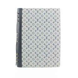 Louis Vuitton Grey Navy Mini Lin Monogram Notebook Cover GM Binder Folder 610lvs316