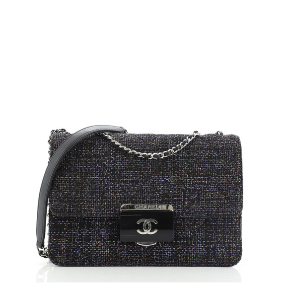 Beauty Lock Flap Bag Quilted Tweed Small