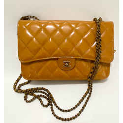 Chanel Burnt Orange Goat & Patent Limited Ed. Wallet On Chain Crossbody Bag 2015