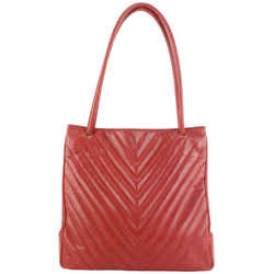 Chanel Large Red Caviar Leather Quilted Chevron Shopper Tote Bag 563cas614