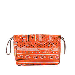 Vintage Authentic Hermes Orange  with Multi Silk Fabric Paisley Pouch France