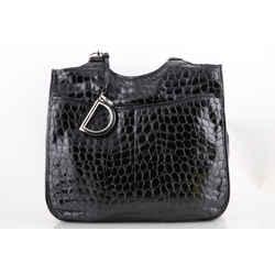 Christian Dior Croc Embossed Tote Bag Black