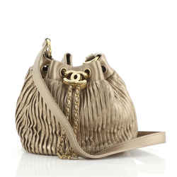 Coco Pleats Drawstring Bag Pleated Crumpled Calfskin Small