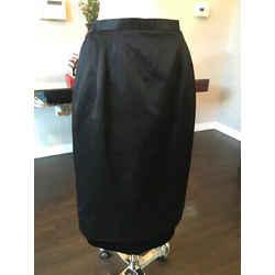 Valentino Black Silk Satin Velvet Straight Evening Skirt Vintage - 2217-1-6819