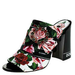 Dolce & Gabbana Multicolor Floral Printed Fabric Crystal Embellished Bow Open