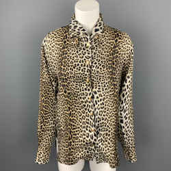 EMANUEL UNGARO Size 6 Beige Animal Print Silk Buttoned Blouse